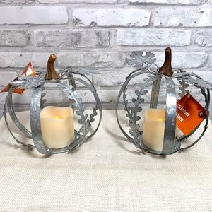 Set of 2 Small Galvanized Pumpkin LED Decor